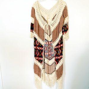 Umgee Boho 70s Fringe Crochet Duster Cardigan EUC